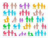 Colorful vector family pictograms