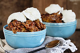 Pumpkin Lava Cake Cobbler and Ice Cream