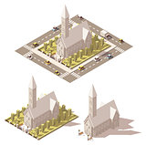Vector isometric low poly church icon