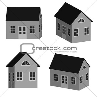 Grey little house in 3D