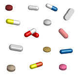 Set of pills for medication in 3D