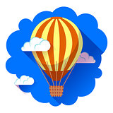 hot air balloon icon in the sky vector