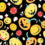 Seamless pattern with funny pumpkins for Halloween