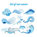 Set vector sea waves