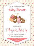 delicate baby girl  shower card with little teddy bear