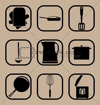 Kitchen utensils simple icon set