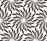Vector Seamless Black and White Floral Shape Twirl Pattern