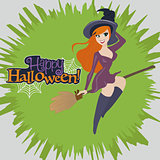 Vector Illustration of a Halloween witch flying on a broomstick