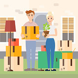 Young couple moving to new house vector illustration