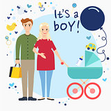 Happy young family waiting for a baby boy