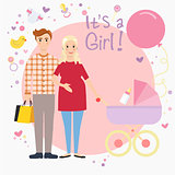 Illustration of a pregnant couple waiting for a baby girl