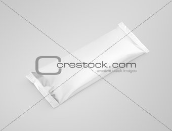 blank plastic pouch snack packaging on gray background