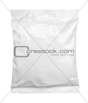 Top view of blank plastic pouch food packaging isolated on white
