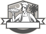 Pizza Chef Pizza Moon Palmetto Tree Shield Retro