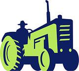 Organic Farmer Driving Vintage Farm Tractor