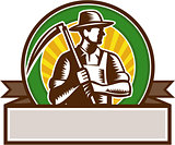 Organic Farmer Holding Scythe Circle Woodcut