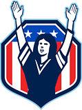 Female American Football Fan Shield Shield Retro