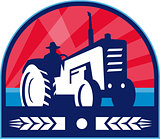 Organic Farmer Tractor Wheat Crest Retro
