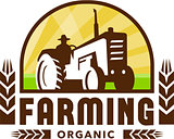 Tractor Wheat Organic Farming Crest Retro