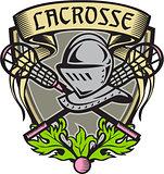 Knight Armor Lacrosse Stick Crest Woodcut
