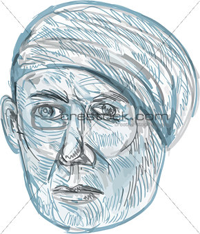 Old Man Wearing Turban Drawing