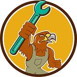 Hawk Mechanic Pipe Spanner Circle Cartoon