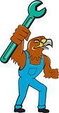 Hawk Mechanic Standing Pipe Spanner Cartoon