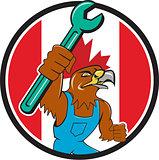 Hawk Mechanic Spanner Canada Flag Cartoon