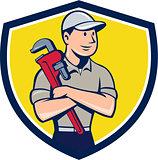 Plumber Arms Crossed Crest Cartoon