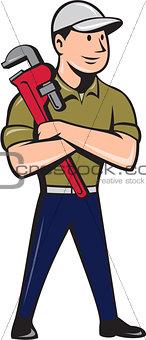 Plumber Arms Crossed Standing Cartoon