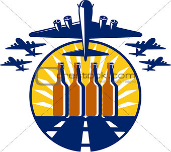 B-17 Heavy Bomber Beer Bottle Circle Retro
