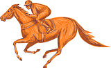 Jockey Horse Racing Drawing