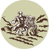 Tiitii Wrestling God of Earthquake Circle Woodcut