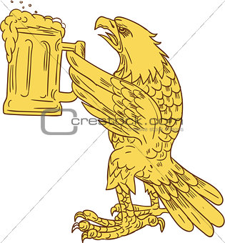 American Bald Eagle Beer Stein Drawing
