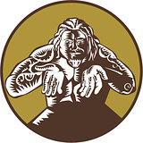 Samoan God Tagaloa Arms Out Circle Woodcut