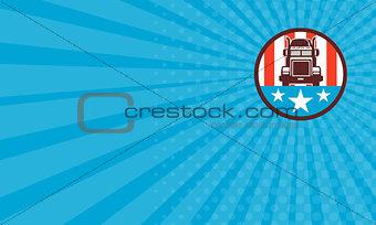 Business card Truck USA Flag Circle Retro