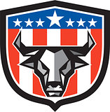 Bull Cow Head USA Flag Crest Low Polygon