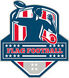 Flag Football QB Player Passing Ball Crest Retro