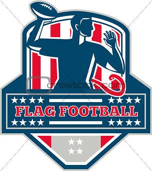 Flag Football QB Player Passing Ball Crest Retro