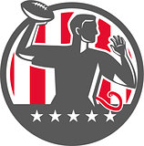 Flag Football QB Player Passing Ball Circle Retro