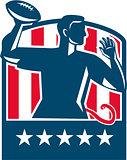Flag Football QB Player Passing Ball USA Flag Crest Retro