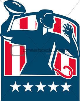 Flag Football QB Player Passing Ball USA Flag Crest Retro