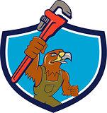 Hawk Mechanic Pipe Wrench Crest Cartoon