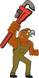Hawk Mechanic Pipe Wrench Cartoon