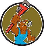 Hawk Plumber Wrench Circle Cartoon