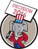 Republican Elephant Mascot Decision 2016 Circle Cartoon