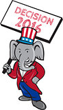 Republican Elephant Mascot Decision 2016 Placard Cartoon