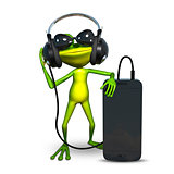 3D Illustration of a Frog with Headphones with Smartphone