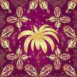 Floral purple seamless pattern