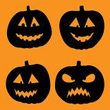 vector illustration of Halloween Background with Pumpkin